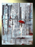 GICLEE PRINT Art Abstract Painting Girl Red Umbrella City Canvas Wall Art Decor - Christine Krainock Art - Contemporary Art by Christine - 2