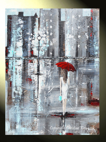 GICLEE PRINT Art Abstract Painting Girl Red Umbrella City Canvas ...