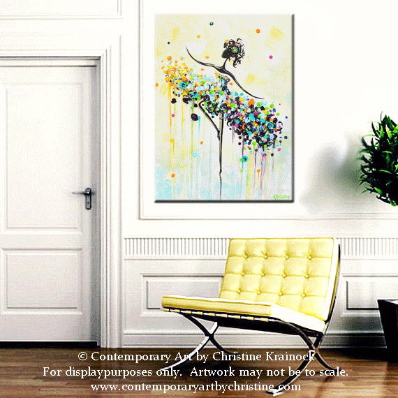 "GICLEE PRINT Art Abstract Painting Dancer Blue Aqua CANVAS Prints White Yellow Teal- Sizes to 60"" - Christine Krainock Art - Contemporary Art by Christine - 2"
