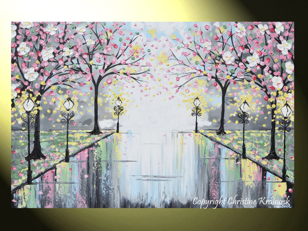 GICLEE PRINT Art Abstract Painting Pink Blossoming Cherry Trees Park Flowers Canvas Prints Grey Decor - Christine Krainock Art - Contemporary Art by Christine - 2