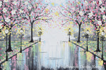 GICLEE PRINT Art Abstract Painting Pink Blossoming Cherry Trees Park Flowers Canvas Prints Grey Decor - Christine Krainock Art - Contemporary Art by Christine - 3