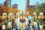 "GICLEE PRINT Art Abstract Painting Couple Blue Umbrella City Park Canvas Prints sizes to 60"" - Christine Krainock Art - Contemporary Art by Christine - 3"