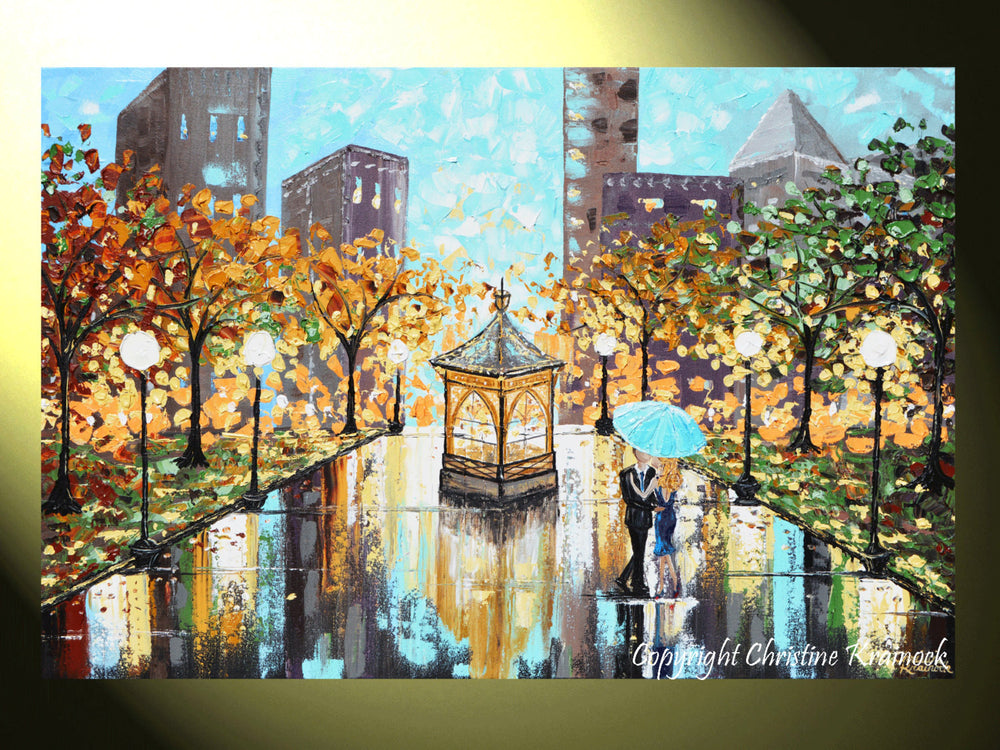 "GICLEE PRINT Art Abstract Painting Couple Blue Umbrella City Park Canvas Prints sizes to 60"" - Christine Krainock Art - Contemporary Art by Christine - 2"