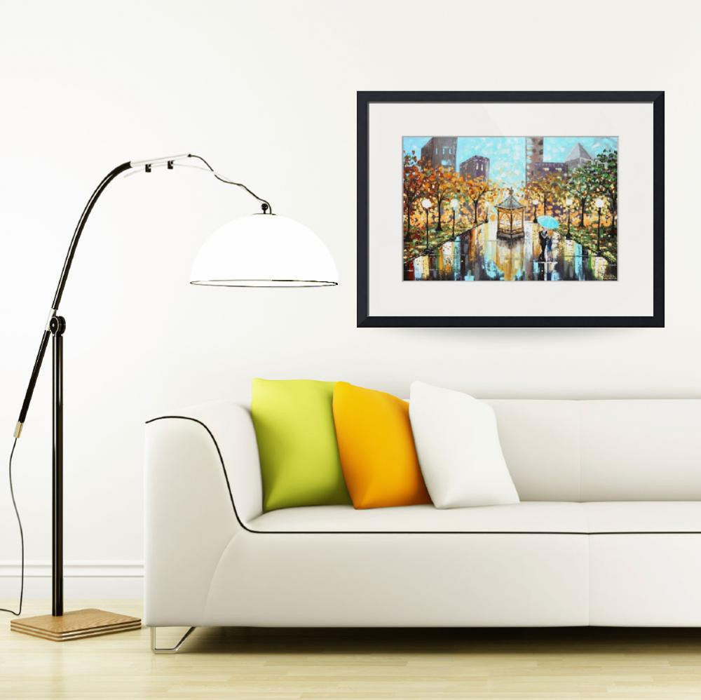 "GICLEE PRINT Art Abstract Painting Couple Blue Umbrella City Park Canvas Prints sizes to 60"" - Christine Krainock Art - Contemporary Art by Christine - 5"