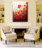 ORIGINAL Art Abstract Painting Red Poppies Painting Textured Poppy Flowers Paintings Spring - Christine Krainock Art - Contemporary Art by Christine - 2