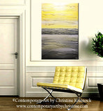 ORIGINAL Art  Abstract Painting Yellow Grey Modern Textured Coastal Wall Decor Contemporary - Christine Krainock Art - Contemporary Art by Christine - 2