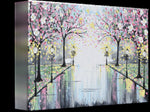 GICLEE PRINT Art Abstract Painting Pink Blossoming Cherry Trees Park Flowers Canvas Prints Grey Decor - Christine Krainock Art - Contemporary Art by Christine - 4