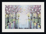 GICLEE PRINT Art Abstract Painting Pink Blossoming Cherry Trees Park Flowers Canvas Prints Grey Decor - Christine Krainock Art - Contemporary Art by Christine - 5