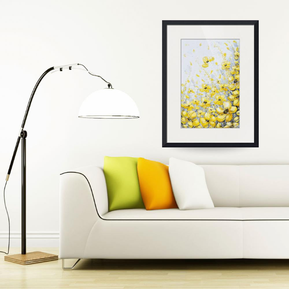 GICLEE PRINT Art Yellow Grey Abstract Painting Poppy Flowers Coastal Art Canvas Prints Gold White - Christine Krainock Art - Contemporary Art by Christine - 4