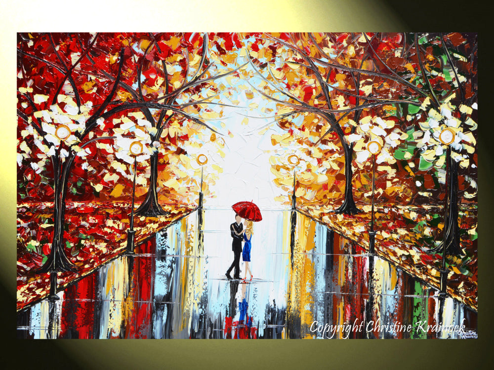 GICLEE PRINT Art Abstract Painting Couple Red Umbrella Dancing Rain City Park Large Canvas Prints - Christine Krainock Art - Contemporary Art by Christine - 4