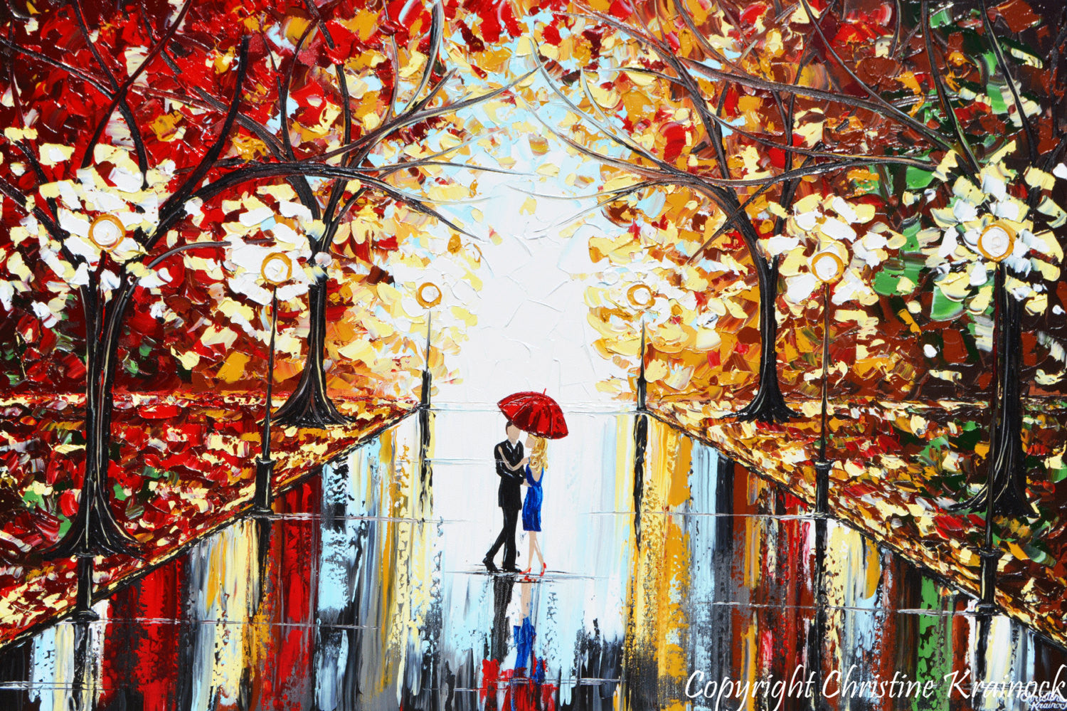 Giclee Print Art Abstract Painting Couple Red Umbrella