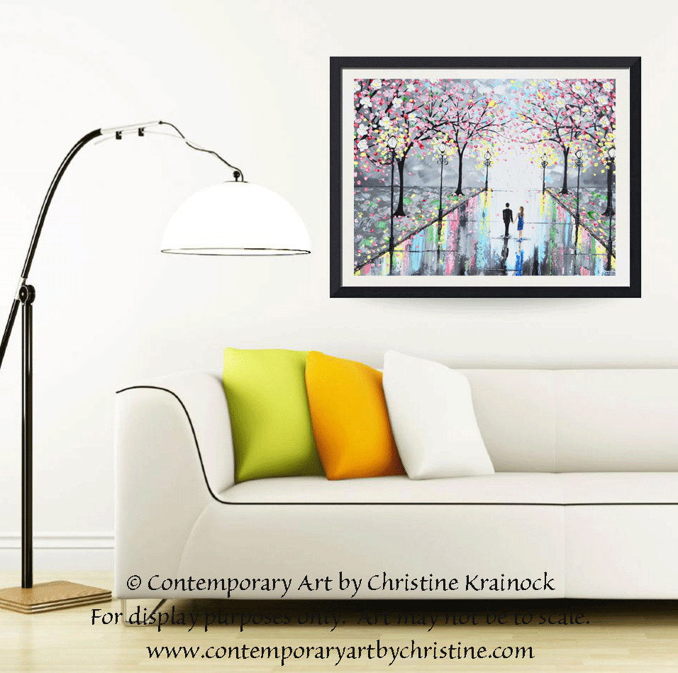 GICLEE PRINT Art Abstract Painting Couple Pink Cherry Trees Blossoms Romantic Canvas Prints Grey - Christine Krainock Art - Contemporary Art by Christine - 6