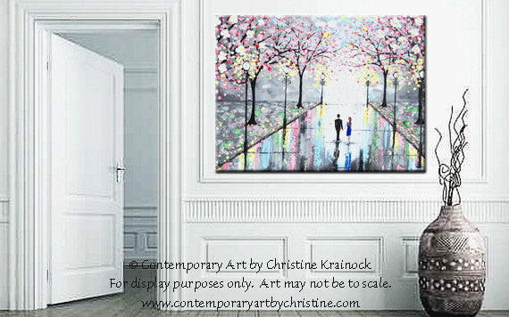 GICLEE PRINT Art Abstract Painting Couple Pink Cherry Trees Blossoms Romantic Canvas Prints Grey - Christine Krainock Art - Contemporary Art by Christine - 4