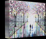 GICLEE PRINT Art Abstract Painting Couple Pink Cherry Trees Blossoms Romantic Canvas Prints Grey - Christine Krainock Art - Contemporary Art by Christine - 5