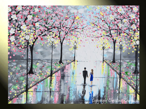 giclee print art abstract painting couple pink cherry trees blossoms romantic canvas prints grey - Pink Trees