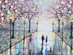 GICLEE PRINT Art Abstract Painting Couple Pink Cherry Trees Blossoms Romantic Canvas Prints Grey - Christine Krainock Art - Contemporary Art by Christine - 3