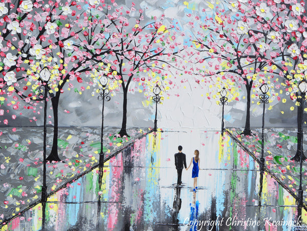 Giclee Print Art Abstract Painting Couple Pink Cherry