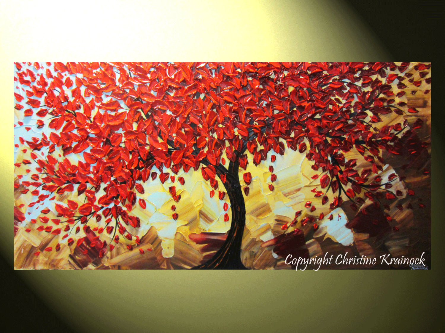 Sold original art abstract painting red tree of life for Abstract wall mural designs