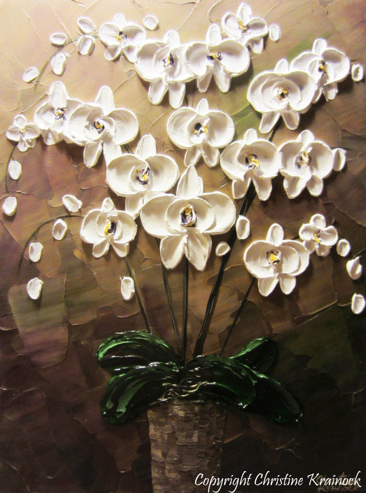 SOLD ORIGINAL Art Abstract Painting Orchids White Flowers Textured Modern Brown Taupe Green Wall Art Wall Decor  Christine Krainock - Christine Krainock Art - Contemporary Art by Christine - 2