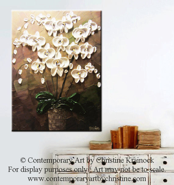 SOLD ORIGINAL Art Abstract Painting Orchids White Flowers Textured Modern Brown Taupe Green Wall Art Wall Decor  Christine Krainock - Christine Krainock Art - Contemporary Art by Christine - 4