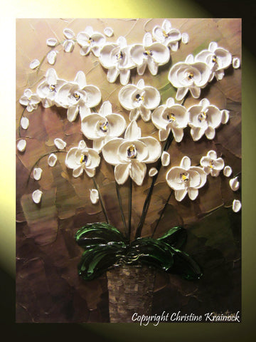 SOLD ORIGINAL Art Abstract Painting Orchids White Flowers Textured Modern Brown Taupe Green Wall Art Wall Decor  Christine Krainock - Christine Krainock Art - Contemporary Art by Christine - 1