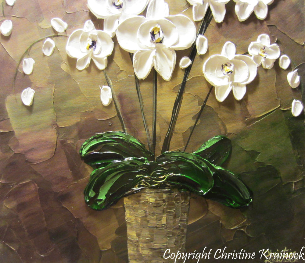 SOLD ORIGINAL Art Abstract Painting Orchids White Flowers Textured Modern Brown Taupe Green Wall Art Wall Decor  Christine Krainock - Christine Krainock Art - Contemporary Art by Christine - 3