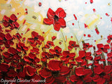 ORIGINAL Art Abstract Painting Red Poppy Flowers Large Textured Landscape Summer Poppies Art - Christine Krainock Art - Contemporary Art by Christine - 4