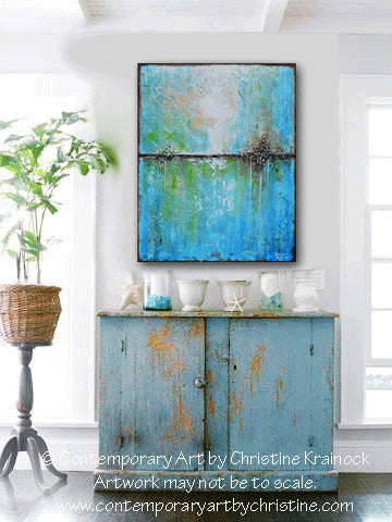 "SOLD ORIGINAL Art Abstract Painting Aqua Blue Green White Textured Coastal Large Wall Art Home Decor READY to SHIP 30"" -Christine - Christine Krainock Art - Contemporary Art by Christine - 1"