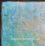 "SOLD ORIGINAL Art Abstract Painting Aqua Blue Green White Textured Coastal Large Wall Art Home Decor READY to SHIP 30"" -Christine - Christine Krainock Art - Contemporary Art by Christine - 5"