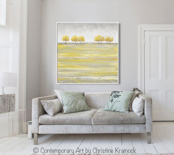 ORIGINAL Art Abstract Yellow Grey Painting Gold Tree Landscape Textured Palette Knife Wall Decor - Christine Krainock Art - Contemporary Art by Christine - 4