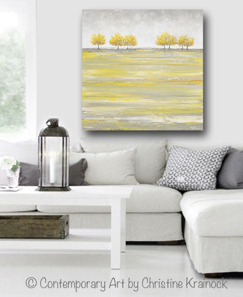 ORIGINAL Art Abstract Yellow Grey Painting Gold Tree Landscape Textured Palette Knife Wall Decor - Christine Krainock Art - Contemporary Art by Christine - 2