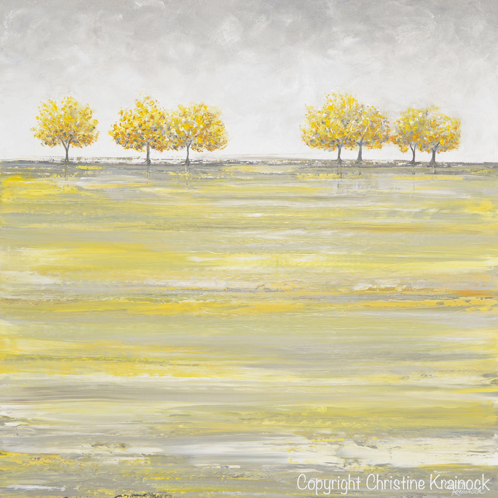 ORIGINAL Art Abstract Yellow Grey Painting Gold Tree Landscape Textured Palette Knife Wall Decor - Christine Krainock Art - Contemporary Art by Christine - 6