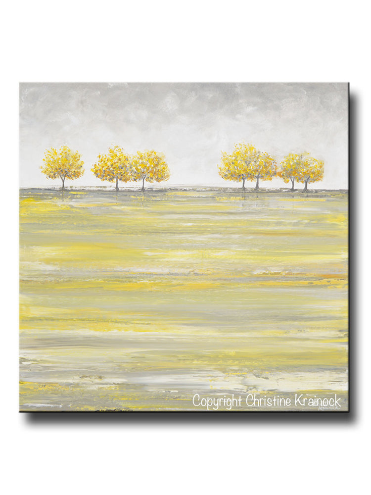 ORIGINAL Art Abstract Yellow Grey Painting Gold Tree Landscape Textured Palette Knife Wall Decor