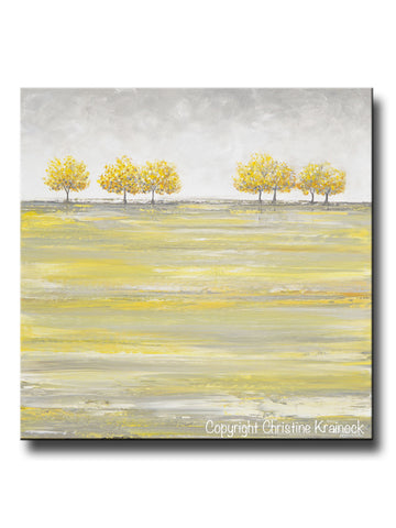 ORIGINAL Art Abstract Yellow Grey Painting Gold Tree Landscape Textured Palette Knife Wall Decor - Christine Krainock Art - Contemporary Art by Christine - 1