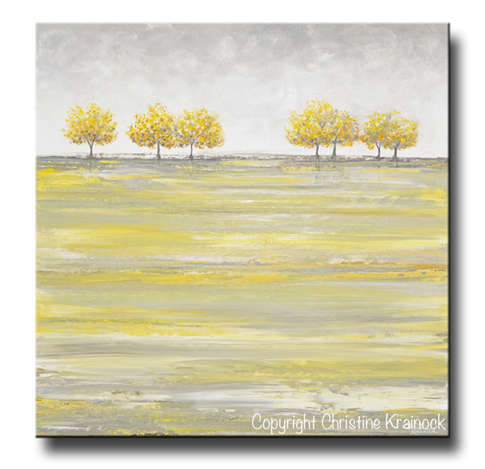 ORIGINAL Art Abstract Yellow Grey Painting Gold Tree Landscape Textured Palette Knife Wall Decor - Christine Krainock Art - Contemporary Art by Christine - 3