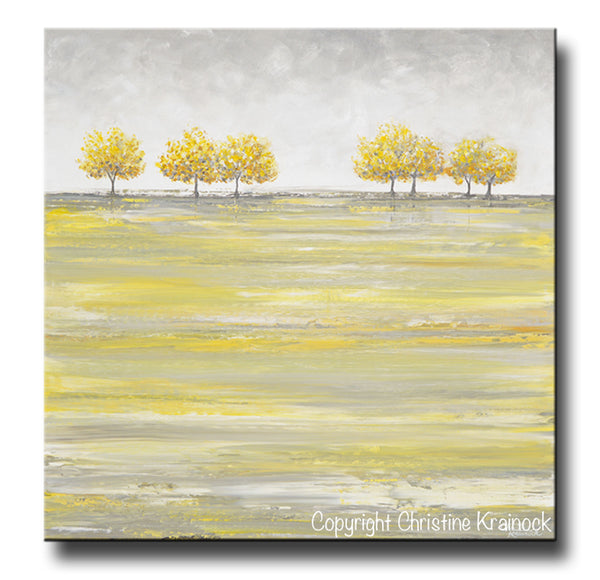 Original art abstract painting yellow grey gold trees home for Blank canvas designs wall art