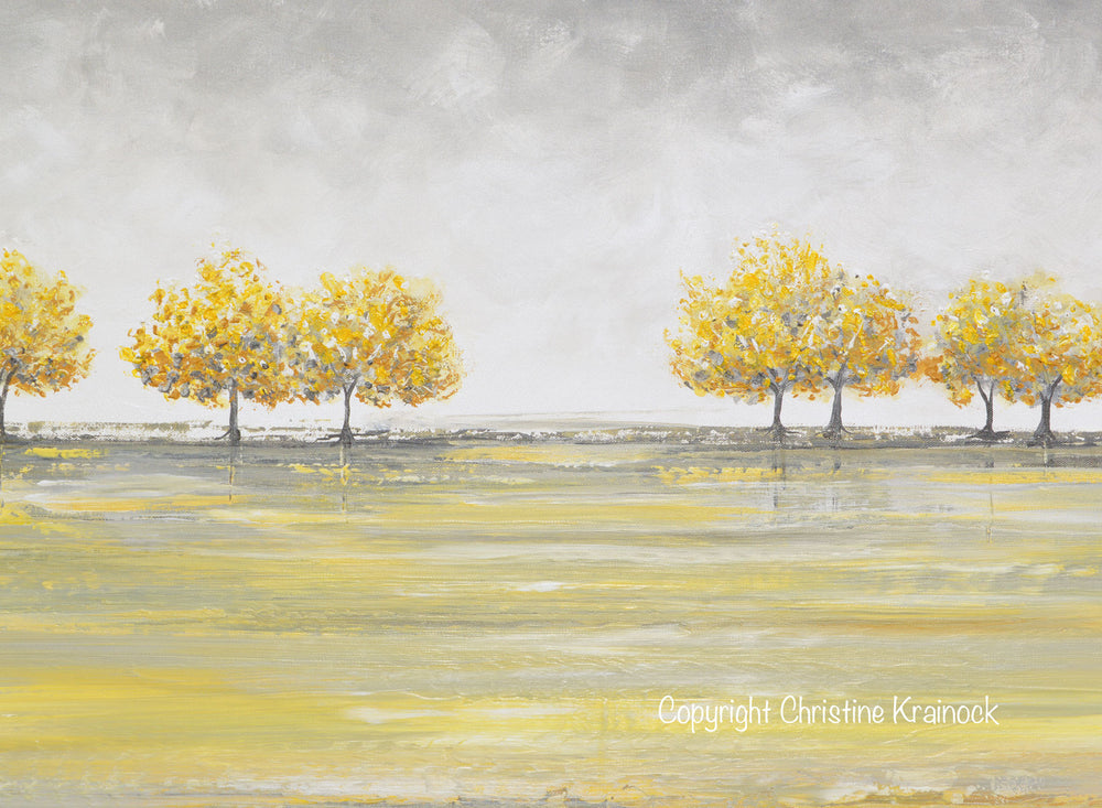 ORIGINAL Art Abstract Yellow Grey Painting Gold Tree Landscape Textured Palette Knife Wall Decor - Christine Krainock Art - Contemporary Art by Christine - 5