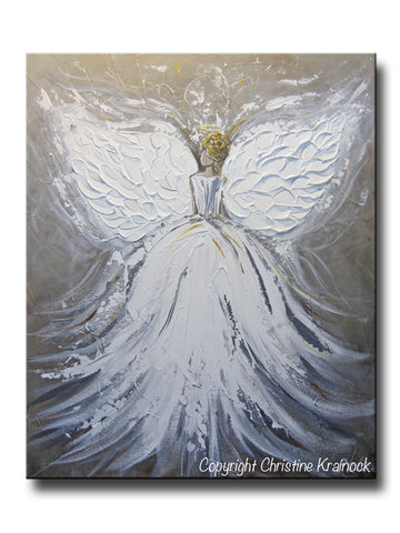 "ORIGINAL Abstract Angel Painting White Grey Taupe Guardian Angel Art Textured Spiritual Wall Art 20x24"" - Christine Krainock Art - Contemporary Art by Christine - 1"