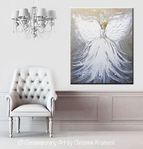 Spiritual Wall Art original abstract angel painting white guardian angel art textured