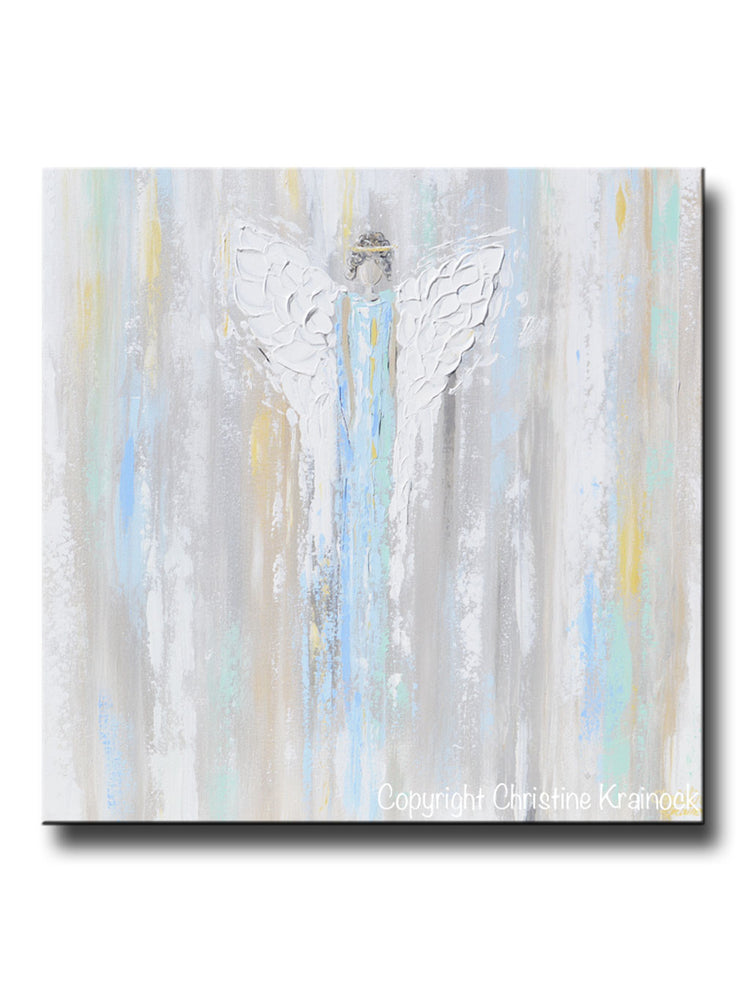 GICLEE PRINT Art Abstract Angel Painting Light Blue Angels Wall Art~ Joyful Heart Foundation Charity