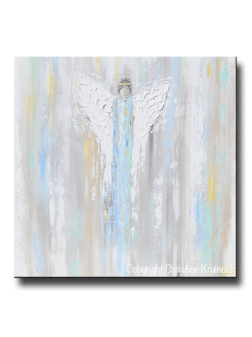 ORIGINAL Abstract Angel Painting Guardian Angel Fine Art Blue Green White Textured Modern Home Wall Art - Christine Krainock Art - Contemporary Art by Christine - 1