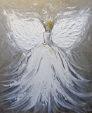"ORIGINAL Abstract Angel Painting White Grey Taupe Guardian Angel Art Textured Spiritual Wall Art 20x24"" - Christine Krainock Art - Contemporary Art by Christine - 6"