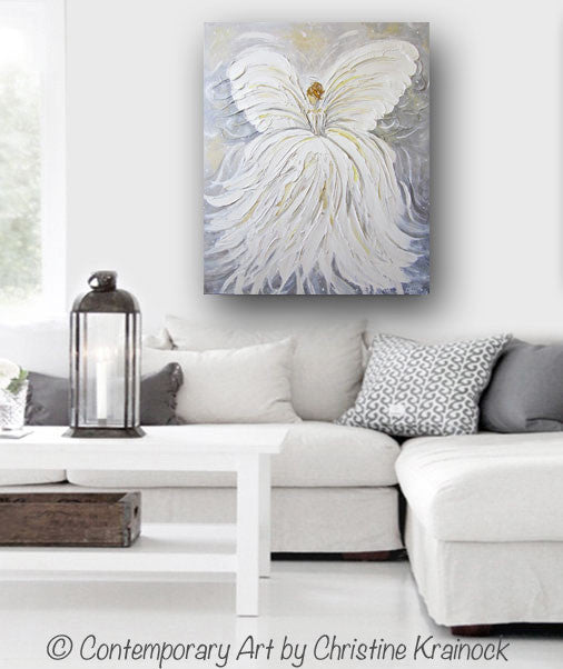 GICLEE PRINT Abstract Angel Painting White Grey Gold Guardian Angel Canvas Print Spiritual Wall Art - Christine Krainock Art - Contemporary Art by Christine - 2