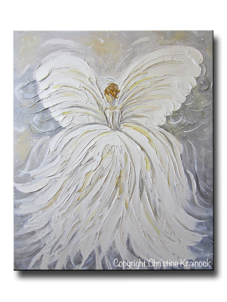 GICLEE PRINT Abstract Angel Painting White Grey Gold Guardian Angel Canvas Print Spiritual Wall Art - Christine Krainock Art - Contemporary Art by Christine - 1