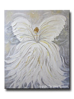 GICLEE PRINT Abstract Angel Painting White Grey Gold Guardian Angel Canvas Print Spiritual Wall Art