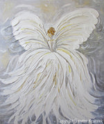 GICLEE PRINT Abstract Angel Painting White Grey Gold Guardian Angel Canvas Print Spiritual Wall Art - Christine Krainock Art - Contemporary Art by Christine - 4