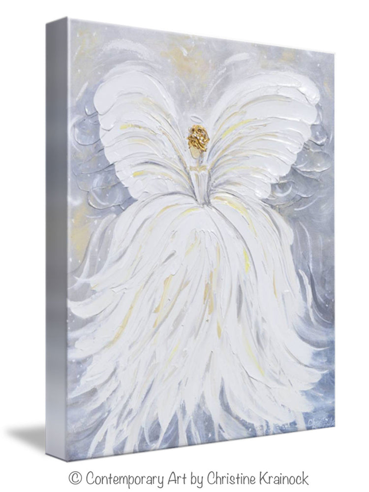 GICLEE PRINT Abstract Angel Painting White Grey Gold Guardian Angel Canvas Print Spiritual Wall Art - Christine Krainock Art - Contemporary Art by Christine - 3