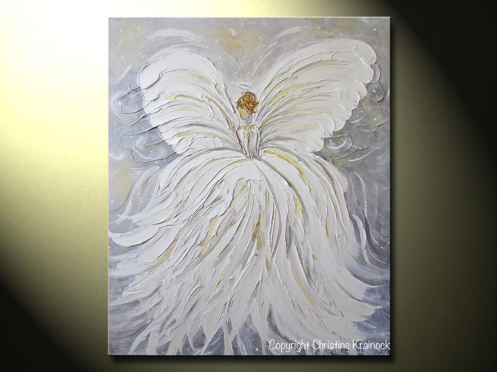 GICLEE PRINT Abstract Angel Painting White Grey Gold Guardian Angel Canvas Print Spiritual Wall Art - Christine Krainock Art - Contemporary Art by Christine - 5