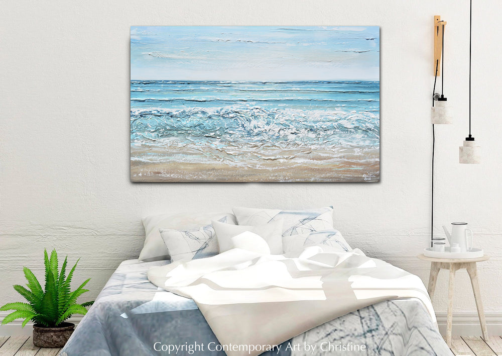 """Coastal Memories"" ORIGINAL Art Coastal Abstract Painting Textured Ocean Waves Blue Beach 48x30"""