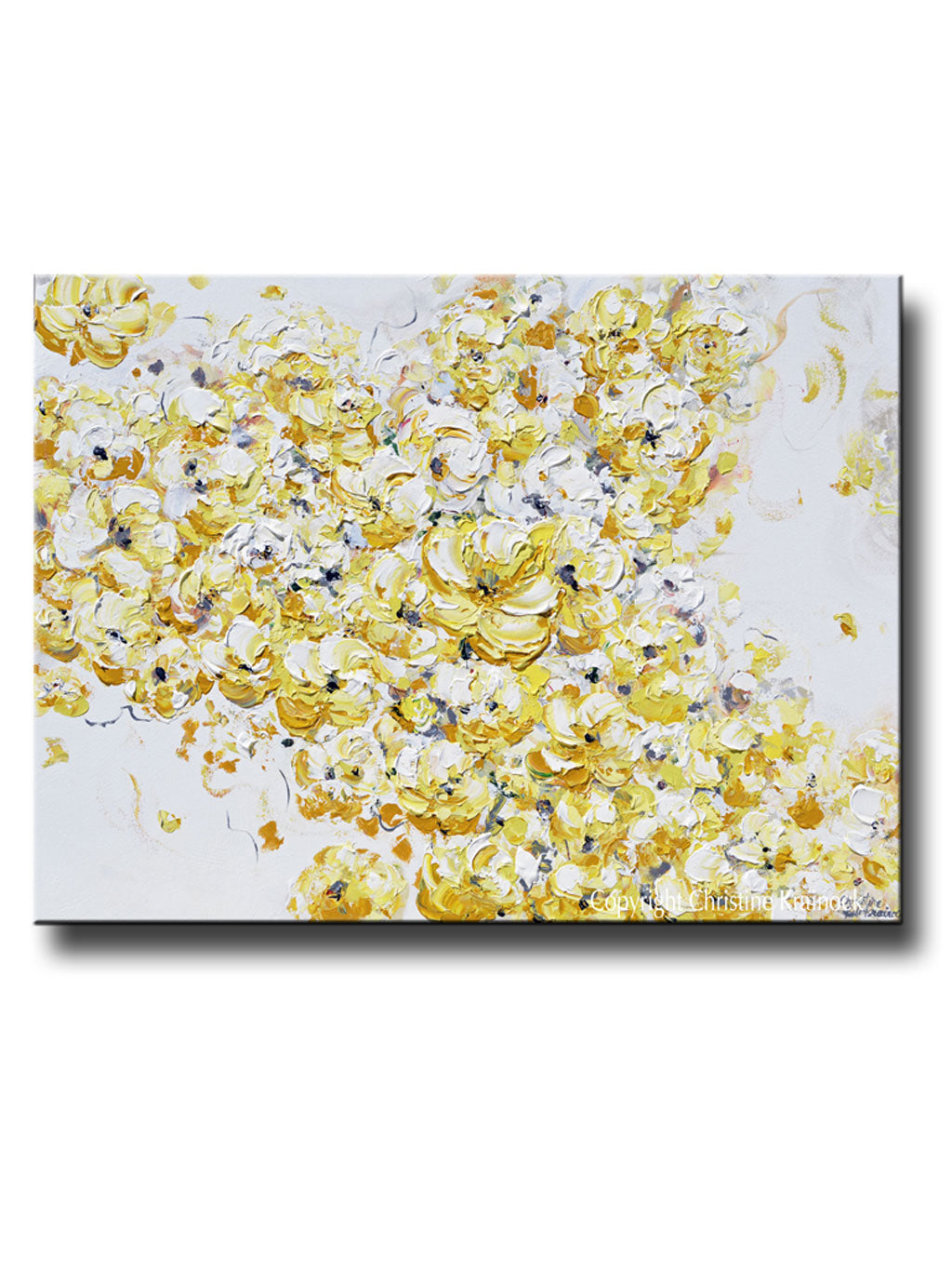 ORIGINAL Art Yellow White Abstract Painting Flowers Floral Home ...